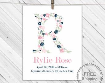 birth announcement wall art - birth stats sign - new baby gift - unique personalized baby gift - newborn girl - print or canvas nursery art