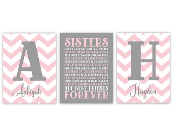 Sisters Wall Art | Girls Room Decor | Sisters Sign | Girl Nursery Decor | Big Sister Little Sister | Twin girls nursery | Sister Decor