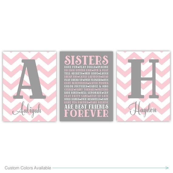 Sisters Wall Art | Girls Room Decor | Sisters Sign | Girl Nursery ...