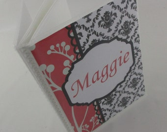 Wedding Photo Album,Black and Coral Damask Engagement album, bridal shower gift 458