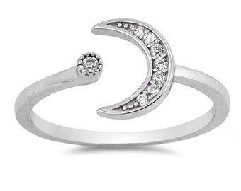 925 Sterling Silver Moon & Star CZ Ring 4 5 6 7 8 9 1 0