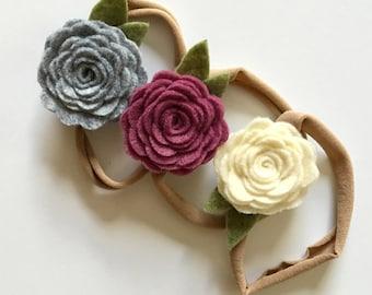 fall felt floral headband set   set of 3 felt posey hair clips or headbands   felt flower felt rose   gray cream mulberry