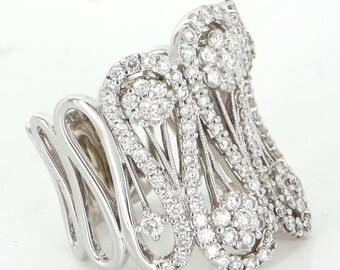 Wide Band 1.91ct Diamond Cigar Ring Vintage 14 Karat White Gold Estate Jewelry Sz 8