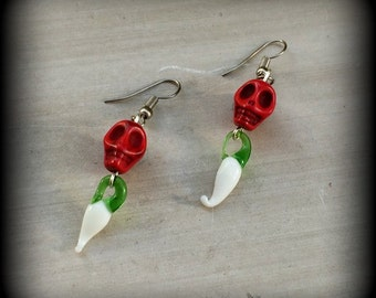 Skull and Chilli earrings Day of the Dead stone skull with glass chilli bead and antique silver earrings for pierced ears or stretched lobes