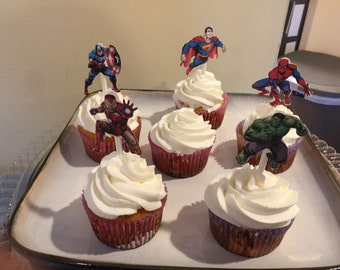 24 Superhero Cupcake Toppers