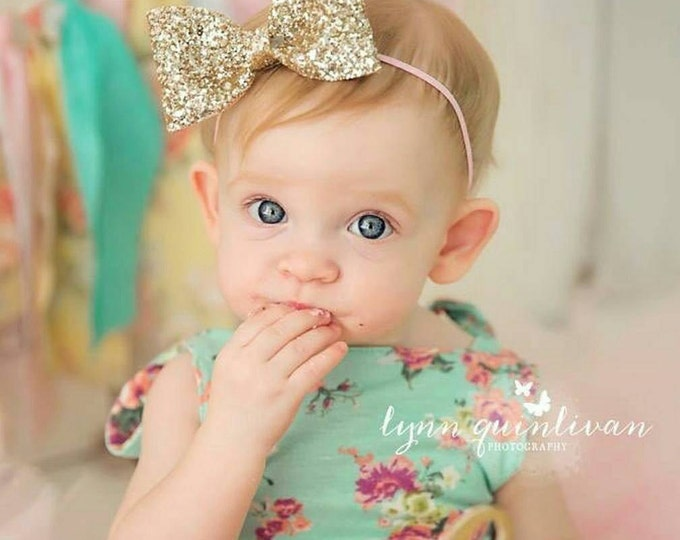 Glittery Gold Bow Headband | Gold Glitter Bow | Cake Smash Bow | Baby Bow | Sparkle Bow