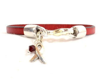 Heart Disease Awareness Bracelet - Red 5mm Flat Leather Bracelet with Awareness Ribbon, Crystal, and Lobster Clasp (5FA-204)