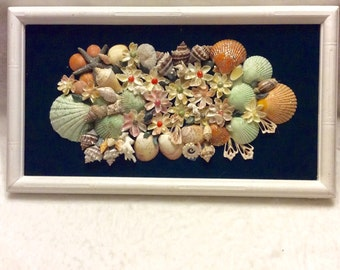 Vintage 1950's hand made mosaic seashell collage wall hanging.