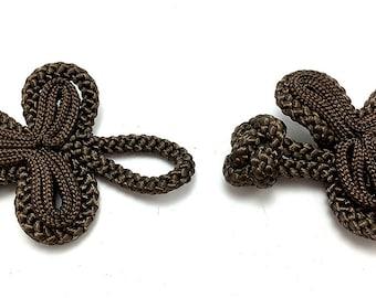 "Frog Closure, Espresso Brown Soft Cloth Rope, 2"" x 1.5"" Each Side  -0859"