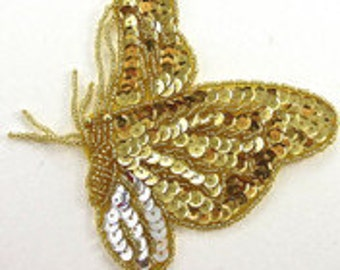 "Butterfly Sequin Beaded Applique, 7"" x 5""  -5230-0252-0099"