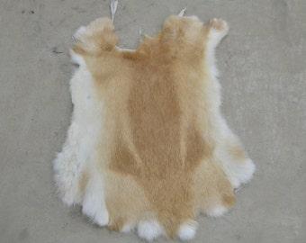 Rabbit Fur Pelt Tan/Cream Genuine Leather Large TA-38959 (Sec. 1,Shelf 5,B)