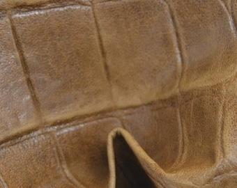"Fashion Rustic Oak Large Reptile Lambskin Leather Hide 4"" x 6"" Pre-cut 1 ounces TA-39007 (Sec 3,Shelf 6,B,Box 6)"