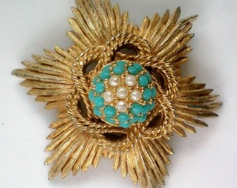 Sphinx of England  Simulated Pearl &Turquoise Brooch - 4572