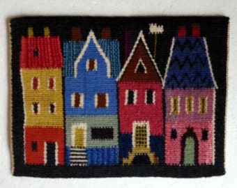 Scandinavian Swedish multicolor handwoven  wall hanging with house in flemish technique from 1960s.