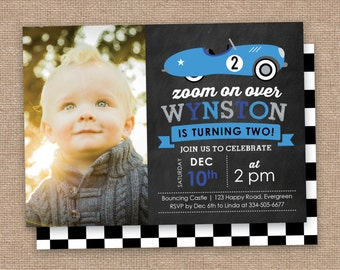 Vintage Car 2nd Birthday Invitation, Photo, Race Car, DIY Printable