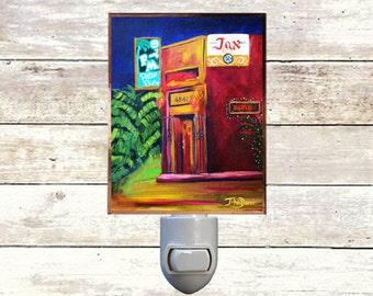 "Night Light, ""F & M Patio Bar"", New Orleans Icons,  Handmade, Copper Foiled"