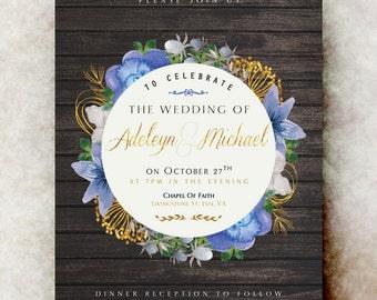 Barn Wedding Invitation - wedding invitation suite, country wedding invitation, printable wedding invitation, winter wedding
