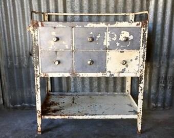 Vintage Industrial Medical Cabinet / Metal Cabinet / Vintage Storage / Sideboard / Vintage Table / Dental Cabinet / Storage Cabinet