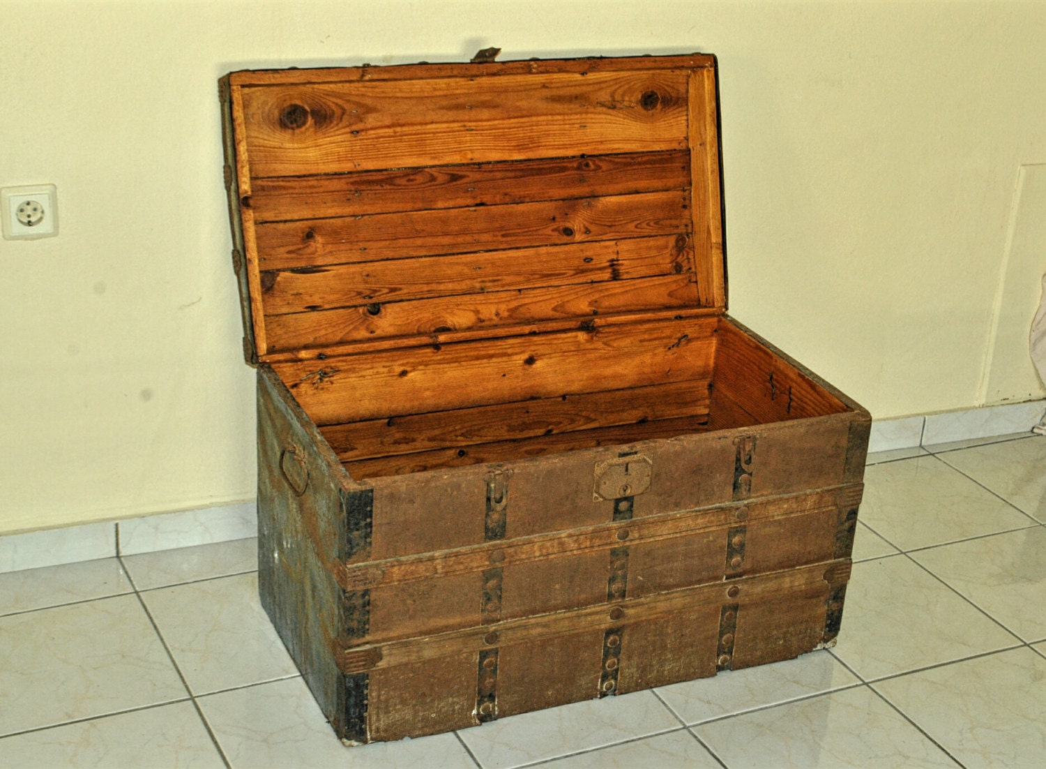 Large antique wooden chest treasure box