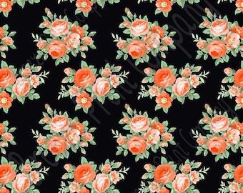 Orange peach rose floral craft  vinyl sheet - HTV or Adhesive Vinyl -  with black background flower pattern vinyl  HTV2224