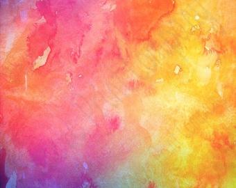 Watercolor pattern printed craft  vinyl sheet - HTV or Adhesive Vinyl -  pink orange yellow green purple  HTVWC1