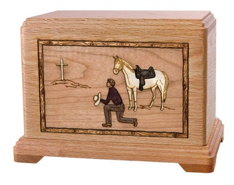 Oak Cowboy Kneeling at Cross Hampton Wood Cremation Urn