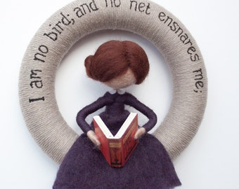 Needle felted Jane Eyre book girl yarn wreath *MADE TO ORDER*