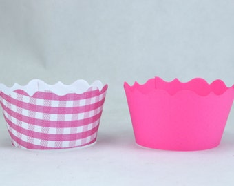 Pink Gingham Cupcake Wrappers