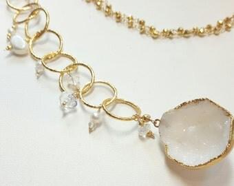 Druzy Quartz 4-way Cascading Necklace