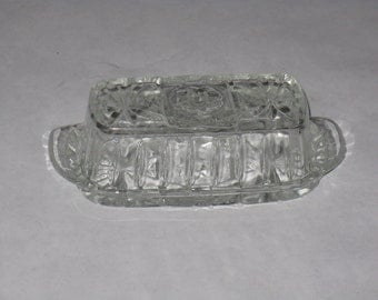 Vintage cut glass covered butter dish
