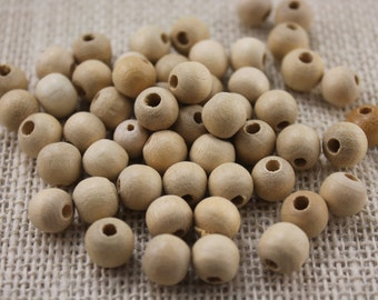 Vintage Large Hole Natural Cream 10mm Wood Beads (40 Pieces)