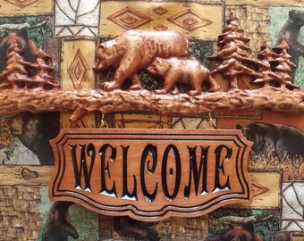 """Bear Family Name Sign ~ WOOD WALL ART Sign ~ Personalized Family Name Est Date Sign~ Rustic Wood Sign ~ Outdoor Family Name Sign - 12"""" x 7"""""""