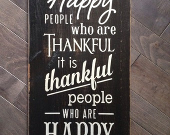 Happy People are Thankful People Hand Painted Sign by, IzzyB Vintage Me