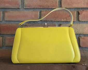 Vintage Yellow Leather Purse / Handbag with A Frame Silhouette. Gold Tone Clasp. 1950s Bag. Yellow Bag. Gift for Her. Vintage Fashion.