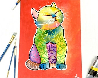 Abstract Cat Painting, Original acrylic canvas, pop art acrylic painting, geometric cat art, gift for her, cat lady wall decor house warming