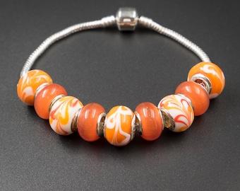 orange white european style large hole glass beads  Set matching European style large hole glass beads mix orange white glass bead mix