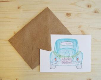 Wedding Card- Just Married Card- Congratulations Card- Getaway Car Card