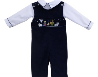 Baby Boy Smocked Nativity of Jesus Longall Outfit in Navy Corduroy Fabric, Christmas Coordinated Children's Clothing  Smocked Manger 18019