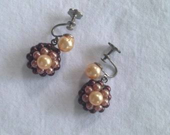 Vintage faux pearl earrings, antique screw back brow and cream jewelry