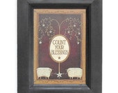 Count your Blessings ... primitive home decor, sheep print, wall hanging, wall art, country decor, handmade, quality wood frame, Made in USA