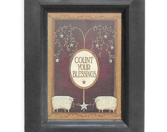 Count your Blessings, Sheep Print, Primitive Home Decor, Wall Hanging, Country Home Decor, Handmade, 9x7, Custom Wood Frame, Made in USA