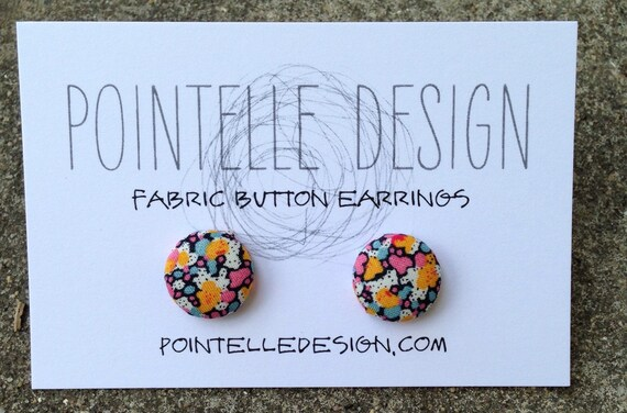 Tiny floral fabric covered button earrings with stainless steel posts orange pink blue