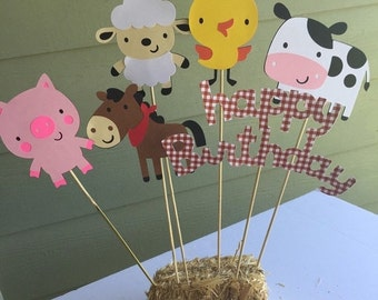 VDAY SALE // Red gingham barnyard farm animals centerpiece birthday party decor