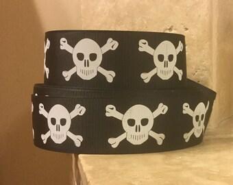 "5 YDS Black Pirate Skull and Crossbones Ribbon (1.5"")"