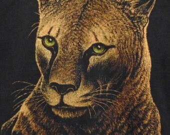 Beautiful Cat Graphic T shirt Black Short Sleeve Vintage T shirts Animals Tourist Africa Wild Animals