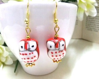 SALE! Red and White Porcelain Owl Earrings, Red Earrings, Gold Earrings, Red Owl Earrings, Owl Lovers, Bird Earrings, Owl Jewelry,Girls Gift