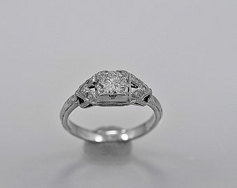 Vintage Engagement Ring .45ct. Diamond &18K White Gold - J35578