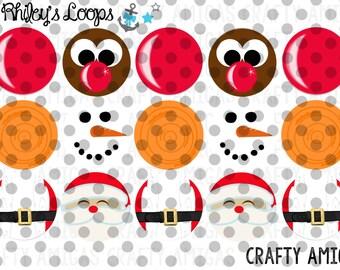 Rudolph Nose, Carrot Nose, Santa Face Christmas Bottle Cap Images