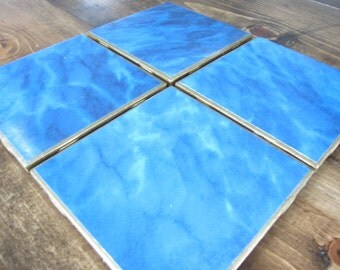 Set of 4 Blue and Gold Tile Drink Coasters