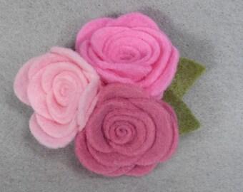 Pink Flower Brooch, Pink Rose Brooch, Pink Brooch, Felt Flower Pin, Pink Pin, Felt Pin, Fabric Flower Brooch, Jewelry, Felt Jewelry